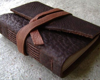 """Rugged leather journal, 4"""" x 6"""", old world journal, travel journal, leather sketchbook (2606)"""