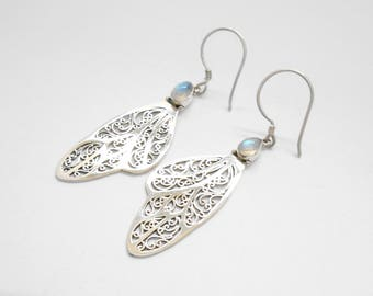Sterling silver Moonstone gemstones wings dangle earrings / silver 925  / 2.25 inch long