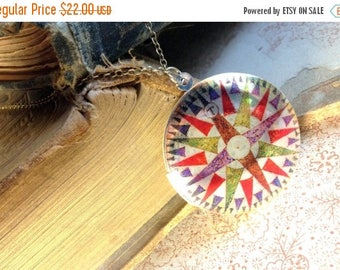 30% OFF Compass Necklace - Upcyled Vintage Locket - Travel Inspired Necklace - Vintage Illustration Jewelry - Whimsical Unique Salvage Jewel