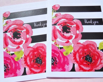 Floral Thank You Cards - Bridal Shower Thank You Cards - Baby Shower Thank You Cards - Floral Note Cards  - Striped Note Cards - sfty11