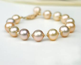 Pearl Bracelet | Multi Color Ivory Pink Champagne 8.5 - 9mm Freshwater Pearls | White Seed Pearl | 14k Gold Filled Filigree Clasp | 7 inch