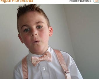 SALE Satin Peach Bowtie and Suspenders Set - Infant, Toddler, Boy            2 weeks before shipping