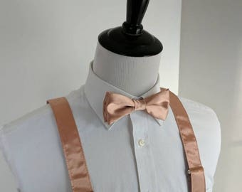 SALE Rose Gold Bowtie and Suspenders. Teen, Youth, Men's. Copper. Wedding. Rose gold hardware! 2 weeks before shipment