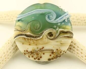 SRA Lampwork Glass Bead, Organic Etched Focal Lentil, Matte Blue, Green,  Ivory