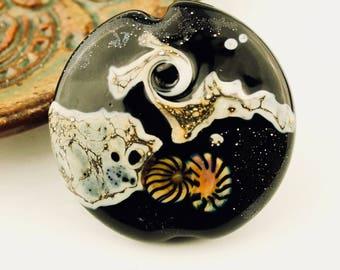 Lampwork Bead, Glass Lentil Focal, Black,  Ivory, Silver, Space Bead