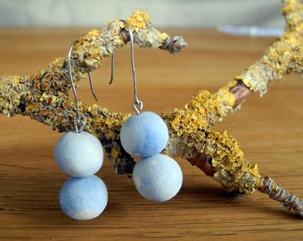 Dangle earrings for all occasions - blue pit-fired beads on surgical steel hooks.