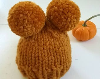 Newborn Knit Beanie/ Hand Knit Newborn Beanie