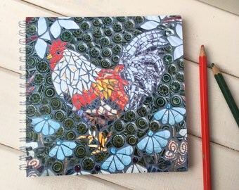 Chicken notebook with blank pages, spiral bound ~ chicken lover journal ~ Gift under 5  ~ Gift for poultry keeper ~ Stocking Filler