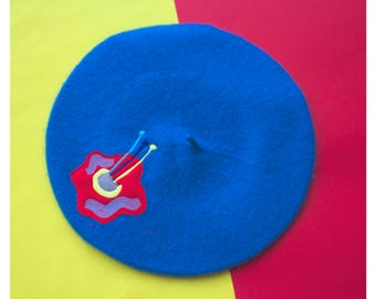 THE FLOWER TRIP embroidered beret in sea blue by Jess Warby