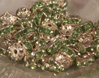 Rhinestone Spacer Beads~Lime Spacer Beads~Lot of Lime Rhinestone Spacers