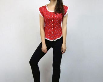 Red Top Woman Vintage 80s Button Up Blouse Ditsy Floral Top - Medium M