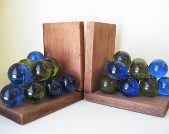 Mid Century Lucite Grapes Bookends