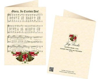 GLORIA In EXCELSIS DEO! Vintage Christmas Carol 5x7 Greeting Card Blank Inside Vintage Verses Christmas Card Parchment Mistletoe Bells Sale