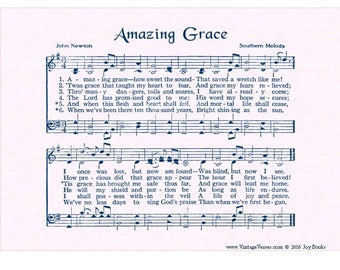 AMAZING GRACE Wall Art 5x7 Christian Home Decor Vintage Verses Sheet Music Hymn Inspirational When We've Been There Ten Thousand Years Sale