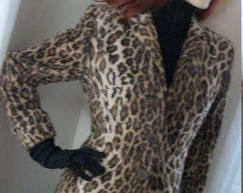 1980s Vintage Faux Leopard Fur Jacket Charles Gray London Size S/M Stunning