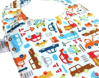 On Sale City Life -  Infant or Toddler bib - Adjustable snap - REVERSIBLE - Terry Cloth