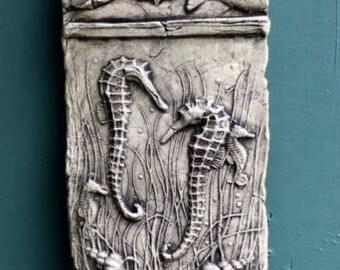 Seahorse Ceramic Pottery Porcelain Relief Fish Tile