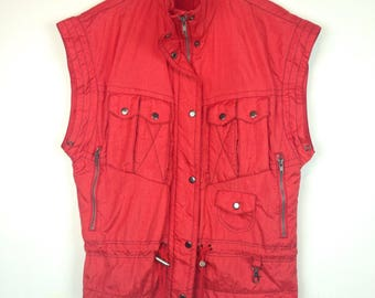 Vintage Cargo Pocket Vest Puffy Red Shiny Thriller Clubkid Raver  Grunge 90s 80s