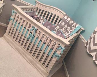 Boy Baby bedding Crib set Gray elephant  chevron aqua mint coral  DEPOSIT Down payment ONLY
