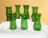 7 Vintage Large Green Glass Vases