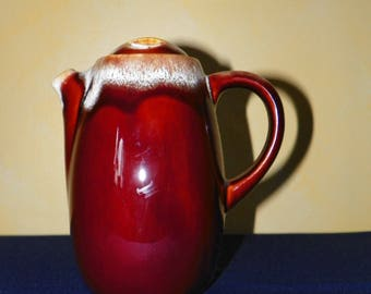 "Brown Drip Tea or Coffee Pot 8 1/4"" High, Flat Top Lid Pottery Marked USA"