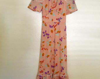 Vintage floral and fruit maxi dress