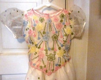 VINTAGE Fancy Party dress Embroidered flowers Girls 5