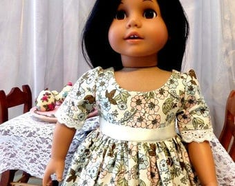 Pastel Colonial Doll Dress / 18 Inch Doll Clothes / Doll Clothes /  Doll Clothing / Doll Accessories / Fits American Girl Doll - 1023