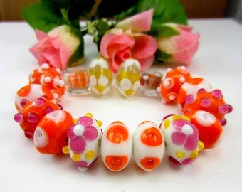 16 Orange lampwork glass beads set handmade beads jewelry making applied flower beads poka dots (SB1),