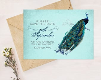 peacock wedding save the date - PRINTABLE diy - rustic engagement announcement, teal customised wedding stationery, elegant postcard design