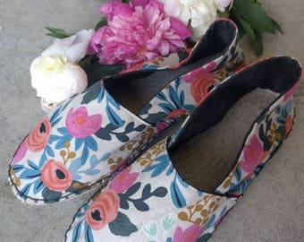 Rifle Paper Co shoes / floral slides / espadrilles / canvas flats / handmade shoes / hand sewn / hemp soles