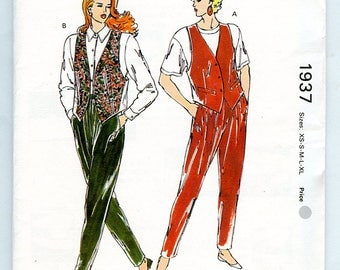 Vintage 80s Kwik Sew 1937 Women's Vest and Loose Fit Pants Multisize UNCUT Sewing Pattern XS S M L XL Bust 31 to 45