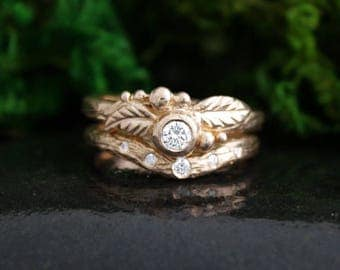 Twig Ring Rose Gold Bridal Set, Diamond Wedding and Engagement Rings, Woodland, Bark Texture, Handmade