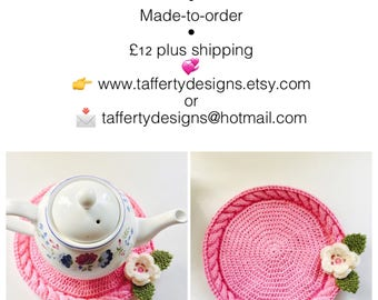 Handmade Pink Teapot Mat with Cable feature, Made-to-order, cotton blend