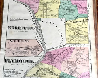 Original 1871 Montgomery County Atlas map of Norriton, Plymouth, and Souders Atlas published by H.W. Hopkins