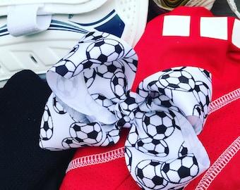 Soccer Hair Bow/ Alligator Clip/ Soccer Ribbon / Soccer barrette/ Soccer Bow