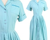 vintage 50s SKY BLUE pocket SHIRTWAIST midi dress M L / pinup rockabilly house day midi dress 1950s medium large