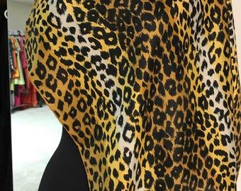Vintage 1960s Echo Leopard Animal Print Silk Scarf