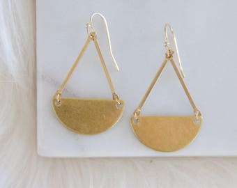 Half Moon Brass Earrings, Small