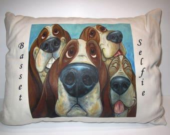 """Basset Hound Pillow - """"Basset Selfie"""""""