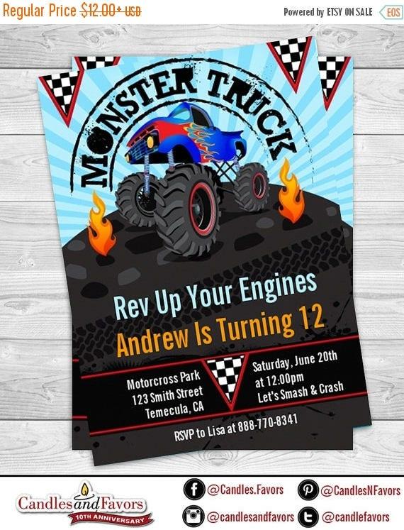 Sale Monster Truck Birthday Party Invitation Monster Jam Invite
