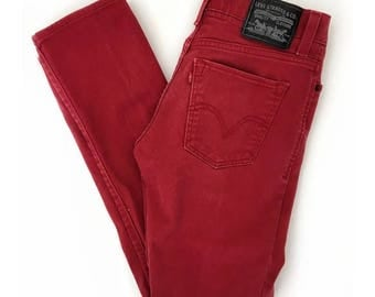 Vintage 90's Levi's Red Mid Rise Super Skinny 510