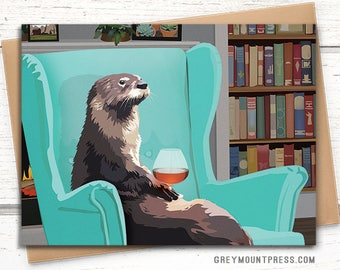 Otter greeting card.  Blank otter card. Card with otter holding brandy snifter. Funny birthday card. Funny greeting card.