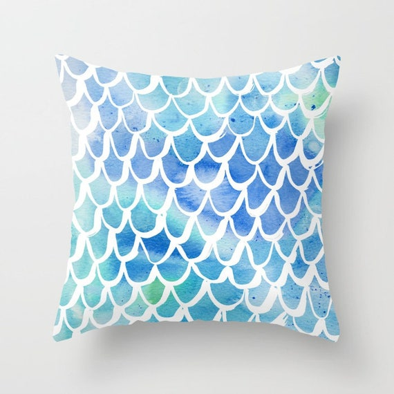 OUTDOOR Throw Pillow . Mermaid Outdoor Pillow . Watercolor Outdoor Pillow . Blue Patio Cushion . 16 18 20 inch . Blue Rectangle Pillow