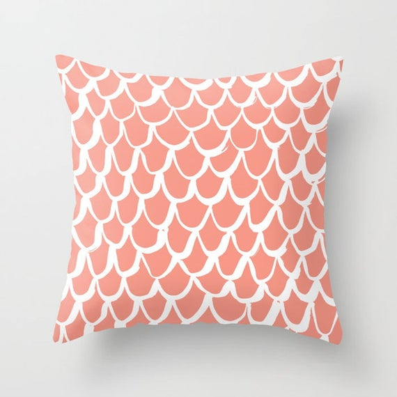 Peach Mermaid Throw Pillow . Salmon and White Pillow . Apricot Cushion . Mermaid Pillow . Peach Pillow . Mermaid Cushion 16 18 20 24 inch