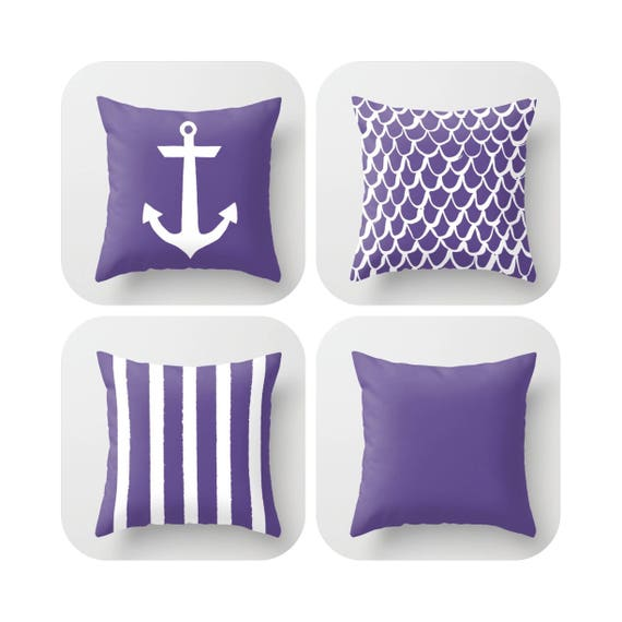 Ultra Violet Throw Pillow . Mermaid Pillow . Anchor Pillow . Pantone color of the year Ultra Violet cushion . Throw Pillow 14 16 18 20 inch