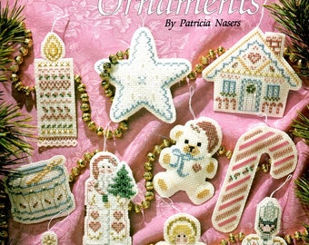 Victorian Ornaments Star Candy Cane Angel Drum Candle Counted Cross Stitch Needlepoint Embroidery Christmas Tree Patterns Craft Leaflet 901