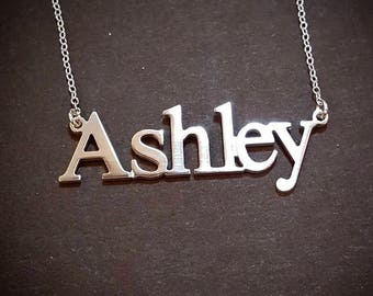 Double Thick Name Necklace with Any Name up to 13 Letters, NewsPaper print, solid sterling silver, perfectly cut and polished,