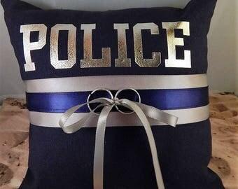 Policeman Police Or Your Name Patrol Cobalt Gray Satin Navy Blue Fabric Wedding Ring Bearer Pillow
