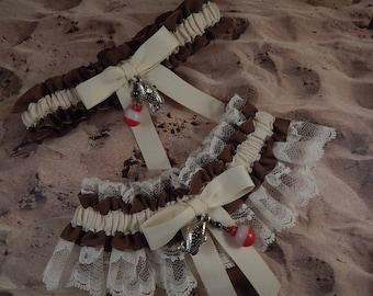 Fishing Brown Linen Ivory Twill Ivory lace Fish Bobber Charm Wedding Bridal Garter Toss Set